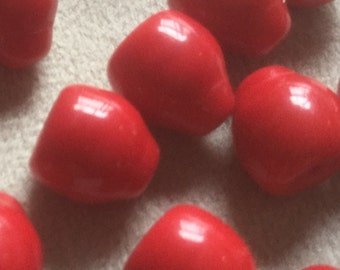 16 Vintage Glass Beads Lipstick Red Czech High Quality Beads 10mm