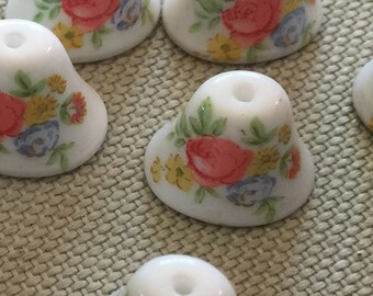 Vintage Glass Bell Beads (6) Japanese Flower Decal Beads