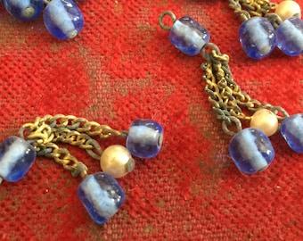 12 Vintage Japanese Handmade Glass Bead Drops Dangles Beads (shabby chic)
