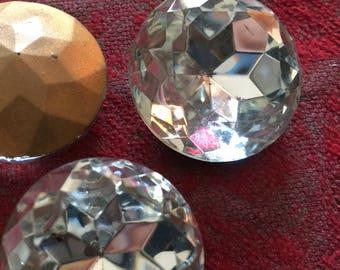 Large Vintage Crystal Goldfoil Faceted-Back Stunning Rhinestone 25mm