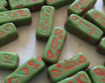 12 Vintage Glass Beads 17x7mm Antique Czech Egyptian Revival Beads