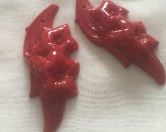 Vintage Red Flower Dangles Drops Pendants (2)(50x20mm) Glass Flower Pendants