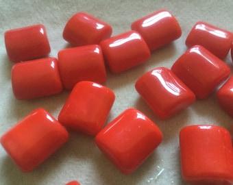 Vintage Glass Beads (12)(15mm) Pendant Pillow Lipstick Red Shinning High Quality Czech Glass Beads