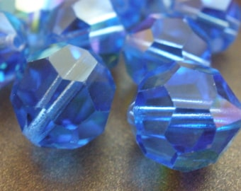 2 Swarovski Vintage Glass BEads Sapphire AB Crystal Focal Beads 14mm