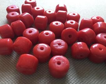 10 Lipstick Red Antique Czech Processor Glass Beads
