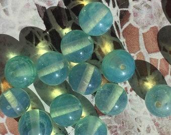 8 Handmade Japanese Vintage Rare Green Opal Glass Beads 8mm
