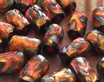 2 Stunning Handmade Full of Fire Orange Foil Vintage Glass Tube Beads 16/10mm