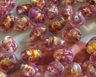 6 —12/8mm Handmade Japanese Vintage Glass Gold-Foil Raspberry Pink Jelly-Bean Shaped Beads