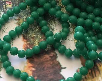 40 Japanese Vintage Handmade Green Jade Glass Beads 6mm