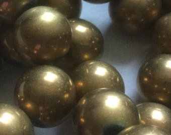 Special Price ~~~~Vintage Glass Beads (6 or 12)(15mm) Bronze Glass Beads