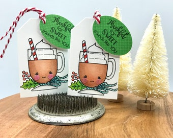 Christmas Lattes Gift Tag Set, Friends Gift Tags, Package Tie Ons, Card Embellishments, COPIC Colored Tags, Hot Cocoa Gift Tags, Bag Tags