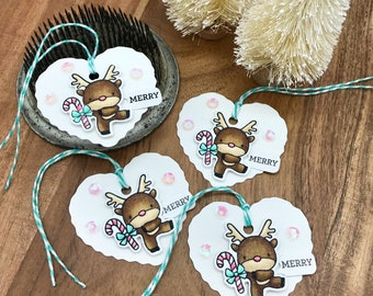 Merry Reindeer Mini Heart Gift Tags, Christmas Gift Tags, Package tags, Copic Colored Tags, Card Embellishments, Embellishments, Handmade