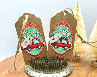 Christmas Car Gift Tags, Red Car Tags, Package Tie Ons, Card Embellishments, Embellishments, Christmas Ornaments, Copic Colored Tag, Bag Tag