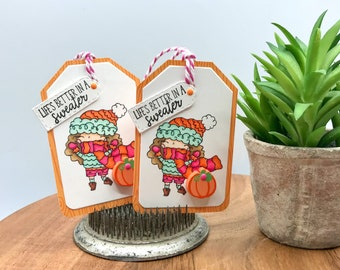 Fall Sweater Weather Gift Tags, Fall Gift Tags, Embellishment Tags, Bag Tags, Treat Bag Tags, Card Embellishments, COPIC Colored Tags