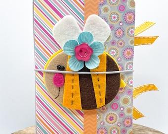 Sunny Bee Travelers Notebook, Mini Smash Book, Scrapbook Album, Junk Journal, Brag Book, Receipt Keeper, Keepsake Album, Girl Gift