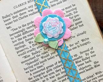 Handmade -Born to Stand Out- Whimsical Flamingo Planner Bookmark, Planner Band, Planner Accessory, Journal Bookmark, Elastic Band, Gift