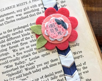"""Handmade -Free To Be Me"""" Boho Chic Planner Bookmark, Planner Band, Planner Accessory, Journal Bookmark, Feathers, Coral, Navy, Gift"""