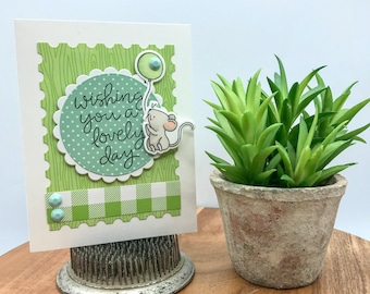 Lovely Day Greeting Card Kit, DIY Cardmaking Kit, Just Because Card, Cards To Make, COPIC Colored Cards, Mouse Card, Handmade Greeting Card