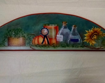Fall Thing's Plaque Pumpkins Sunflower Glass