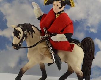 Napoleon Bonaparte Riding a Horse Diorama Doll Miniature Historical French Art Collectible