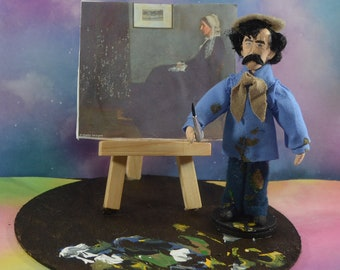 James Whistler Whistler's Mother Artist Diorama Miniature Art Doll American Painter