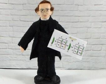 Gregor Mendel Doll Miniature Size Genetic Science Scientist Figurine Plant Biology