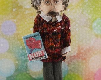 """Kurt Vonnegut Collectible Nutcracker 8"""" Size One of a Kind Book Geek Art American Literature"""