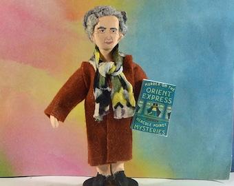 Mystery Author Agatha Christie Miniature Figurine Crime Writer Mini Doll