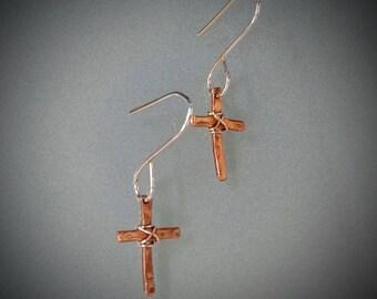 Copper Cross Earrings