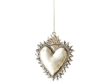 Large Mexican flaming milagro heart pendant made in silver. SALE