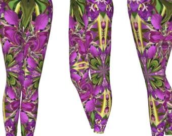 7fa029780e Brightly Colored Long Length Leggings Mandala Flower Printed Bottoms  Botanical Art Yoga Gear Elvin Clothing Dance Rave Festival
