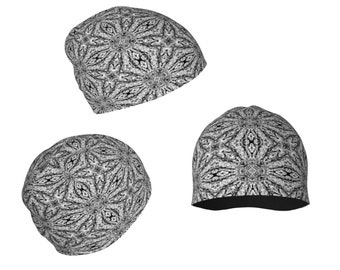 0bedbb31bfb Mandala Art Beanie Hat in Black and White Print Black Lace Winter  Accessories