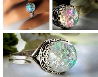 925 Sterling Silver Quartz Crystal Ring