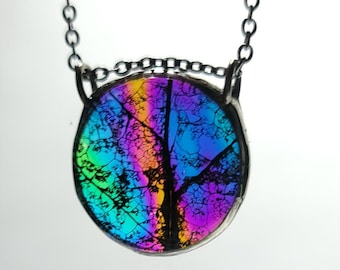 Boho Statement Necklace Rainbow Glass Eco Iridescent Leaf Pendant Botanical Etsy Jewelry for Nature Lovers Festival Fashion