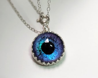 Luminous Glass Evil Eye Necklace Spiritual Jewelry Sterling Silver Protection Charm