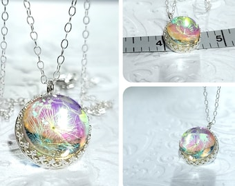 Tiny Wish Necklace Sterling Silver Dandelion Seed Jewelry