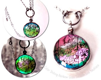 Color Shift Aspen Tree Leaf Choker Necklace in Rainbow Glass Botanical Jewelry for Nature Lovers