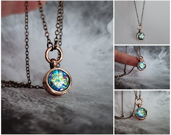 10mm Blue Opal Choker Necklace Adjustable in Recycled Copper Jewelry Handmade in Alaska
