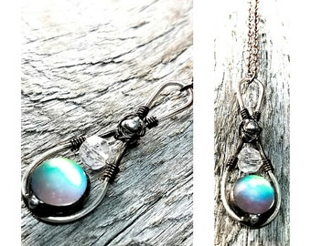 Dainty Copper Elf Stone Necklace Green Glow Frosted Glass Amulet Mixed Metal Copper Brass