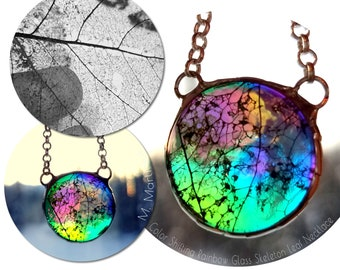 Rainbow Shift Glass Pendant Color Shifting Leaf Necklace Botanical Jewelry made with Tree Leaves in Dichroic Glass