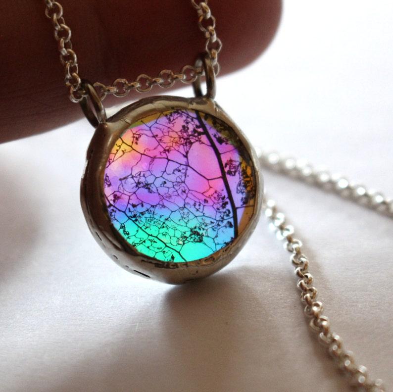 Boho Statement Necklace Rainbow Glass Eco Iridescent Leaf  1685cd53154c