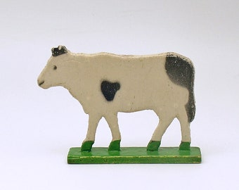 Dollhouse Miniature Handcrafted  Wood Cow Pull Toy from Germany