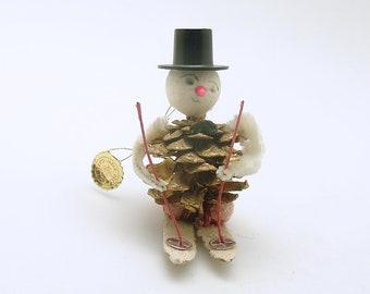 Vintage Christmas Ornament Pine Cone Snowman Skis Christmas Decoration