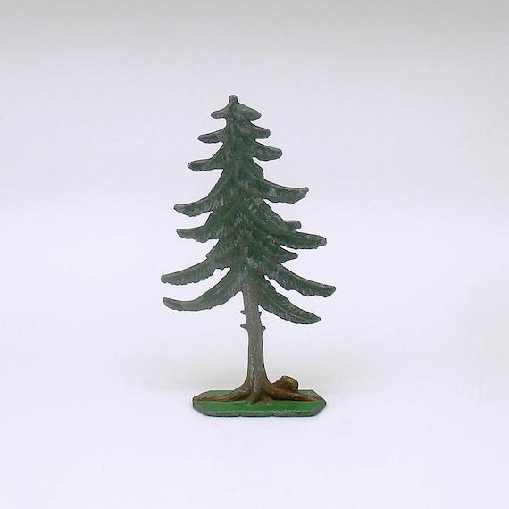 antique miniature metal tree flachfiguren germany christmas village railroad - Small Metal Christmas Tree