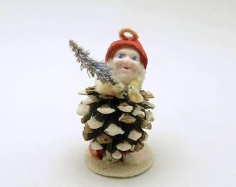 Vintage Christmas Ornament Pine Cone Gnome Elf Christmas Decoration Bottle Brush Tree