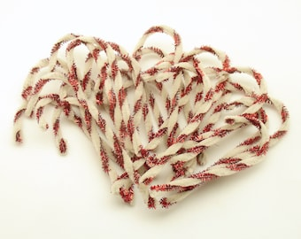 Pipe Tinsel Candy Canes Christmas Decoration Package Tie Ons Corsage Picks