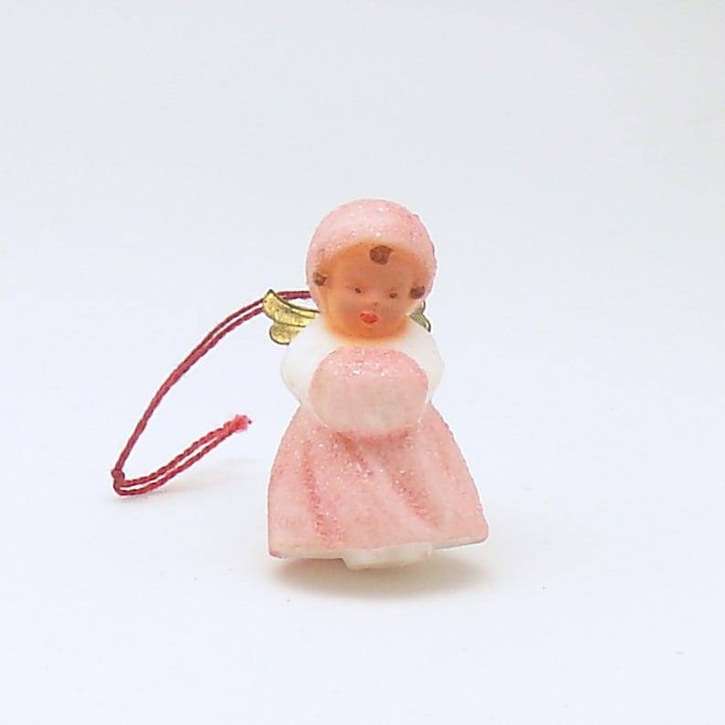 Vintage Christmas Ornament Pink Angel West Germany