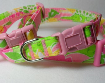 Handcrafted Lilly Pulitzer *Croc Monsieur* NEW Print Fabric Dog Collar- All Sizes-Free Domestic Shipping Always Free