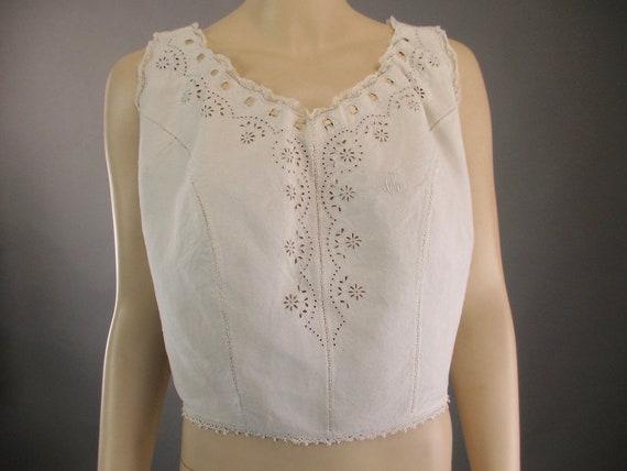 Antique Victorian CivilWar Era Corset Cover Camiso