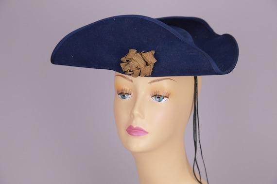 Vintage Edwardian hat wide brim metallic ribbon